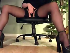 masturbation, leggy, office, heels, lingerie, panties, stockings, erotic, desk, secretary