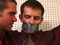 gagged, spy, men, tied