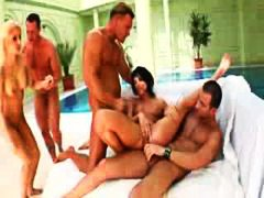 Sweaty aggressive sex in foursome with cum swapping