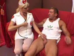 nurse, big tits, shaved, blowjob, hardcore, riding, doggystyle, blonde, muscular, stockings