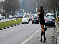 street, hooker, on, public, public nudity, ass, babes, brunettes,