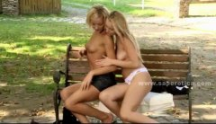 bench, lesbian, fingering, pink, babe, blondes, outdoor