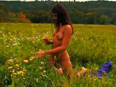 pussy, outdoors, small tits, cute, erotic, masturbating, teen, brunette, flowers, solo