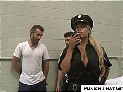 bridgette b,  threesome, prison, rough, jail, big tits, fetish, police, punished, cop, bridgette b, blonde, uniform