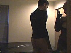 Amateur dude comes to the hotel to fuck and gets a strapon fuck instead