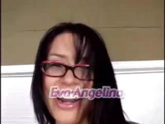 Eva Angelina, pornstar, gets, hardcore, pussy to mouth, facial, big tits, glasses, spanked