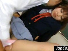 Young innocent asian schoolgirl gets kissed and then licked through her panties by teacher