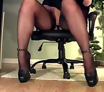 masturbation, voyeur, legs, stockings, pussy, secretary, lingerie-videos.com, desk, office