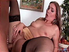 Milf gets toy and real cock pounding
