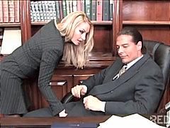 blonde, couple, stockings, swallow, blowjob, office,