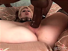 shaved, blowjob, big cock, blonde, deepthroat, gagging, interracial, couple, lingerie,