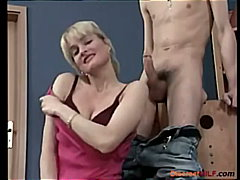 Blonde mom stroke his cock