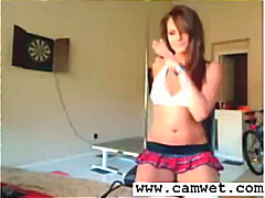amateur, rok, self gemaak, skool, webcam, bunette, terg