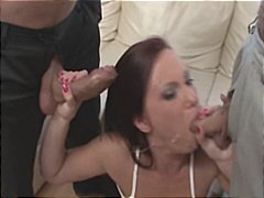 Brunett gets three dildos stuffed in her ass and gets three cocks