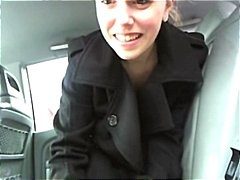 Brunette is at a carwash and is flashing her pussy while going through