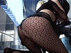 Bonde in fishnets gets two cocks to bang her and gets a dp