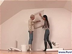 Two girls working together in wam scene