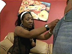 Busty ebony babe gets pounded hard by his big black cock at home