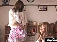Lesbian cosplay scene from two japanese cuties with tiny tits