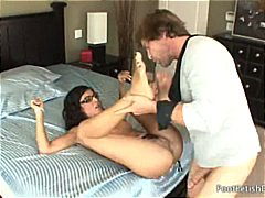 Looks like lou charmelle's feet attract her fuckmate as much as her pussy does