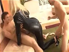 blowjob, threesome, hot pussy, doggystyle, hardcore, leather, aggressive, facefuck, dildo