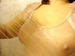 My masters request, wet t-shirt in a shower