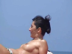 Incredible beach brunette topless south france