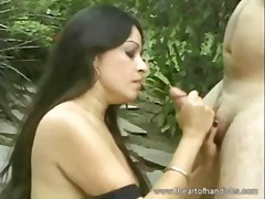 erotic, outdoor, hot, big cock, horny, beauty, babe, lick, dick, cumshot, wild, brunette, cum, handjob