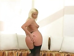 nylons, blondes, excitation, culottes, chattes, bas, strip