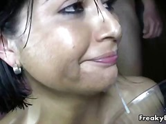 latin, bukkake, spanish, cum swallowing, group sex, cum swapping, brunette, gangbang, blowjob, cumshot, facial