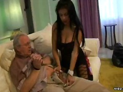 old man, old young, handjob, brunette, big tits, pantyhose, blowjob, hardcore