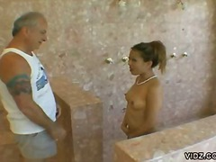 bathroom, oral, pool, ball licking, old young, hardcore, blowjob, old man, asian
