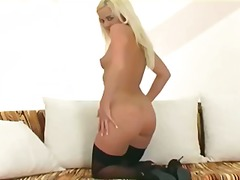 nylons, blondes, excitation, culottes, strip, bas, oral