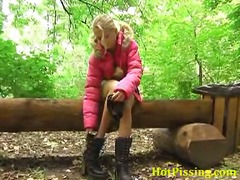 peeing, blonde, white, forest, pissing, outdoors, door