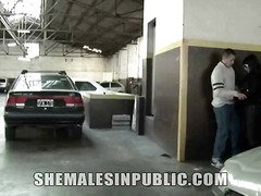 Shemale banged in a parking garage