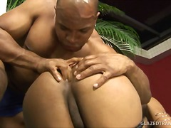 Busty tranny rammed up her tight anus
