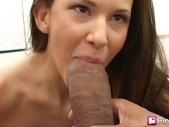 babe, brunette, blowjob, big-cock, interracial