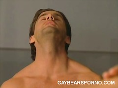 hardcore, gay, gym, locker, room, blowjob, bear, oral, 3some