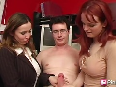 redhead, threesome, blowjob, brunette