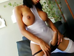 shemale, big-boobs, brunette, stockings, sabri, big-tits, shaved, masturbation, solo, cock-riding, garter
