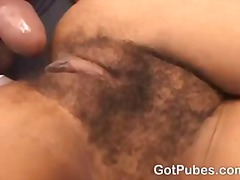 Hot chick gets her hairy pussy filled with a cock