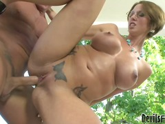 massive-cock, hard, ffm, brown, 3some, doggys, babe, cowgirl, chick, style