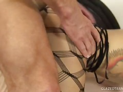 fishnets, shemale, ass-licking, bed, oral, ass, brunette, hardcore