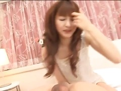 Japanese beauty makes his knob hard with mouth