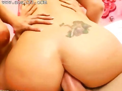 Bottom threesome and opened assholes