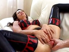 analplay, mature, latex, milf, brunette