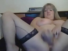 mag-isa, malupit, kama, oral sex, stocking, doggy-style, takong, blonde, malinis, pagjajakol, webcam