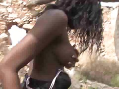 big-tits, interracial, ebony, girl-on-girl, african, cumshot, outdoors, anal, black