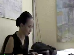 Rough office fuck close to a sexy girlfriend