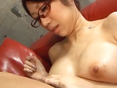 cumshot, cum-in-mouth, busty, fuuka takanashi, milf, glasses, sucking, blowjob, asian